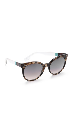 Fendi Block Stripe Round Sunglasses - Havana Biege Aqua/Grey