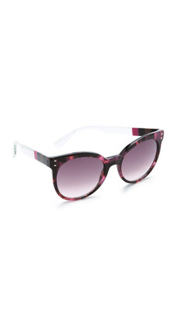 Fendi Block Stripe Round Sunglasses - Havana Fuchsia Crystal/Mauve