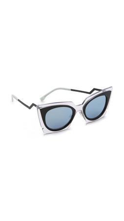 Fendi Bold Statement Sunglasses - Crystal Black/Azure