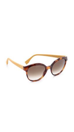 Fendi Classic Colorblock Sunglasses - Havana Ochre/Brown Gradient