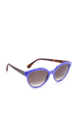 Fendi Classic Colorblock Sunglasses - Opal Blue Havana/Brown Grad