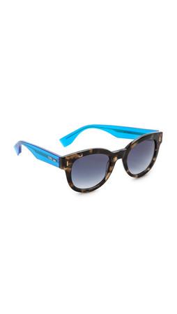Fendi Classic Frame Sunglasses - Havana Beige Blue/Dark Blue