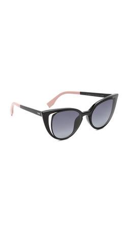 Fendi Cutout Cat Eye Sunglasses - Matte Shiny Black/Grey