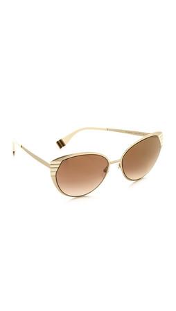 Fendi Mirrored Cat Eye Sunglasses - Gold Ivory/Brown Mirrror