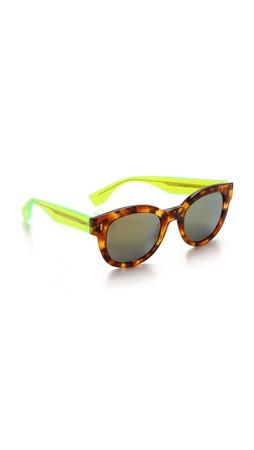 Fendi Mirrored Sunglasses - Havana/Yellow Mirror