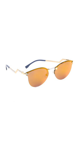 Fendi Iridia Rimless Bottom Sunglasses - Gold/Multi Layer Gold
