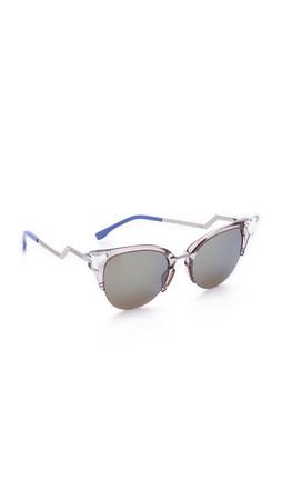Fendi Iridia Crystal Corner Sunglasses - Trans Dove Grey/Khaki Blue