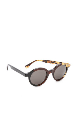 Fendi Round Pattern Fade Sunglasses - Black Olive Havana/Brown