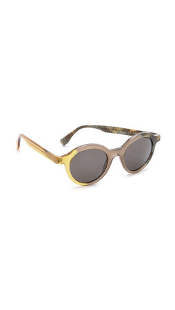 Fendi Round Pattern Fade Sunglasses - Brown Green/Brown Grey