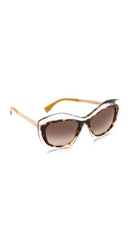 Fendi Statement Sunglasses - Crystal/Brown Gradient
