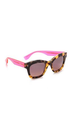 Fendi Thick Frame Sunglasses - Spotted Havana/Grey Brown