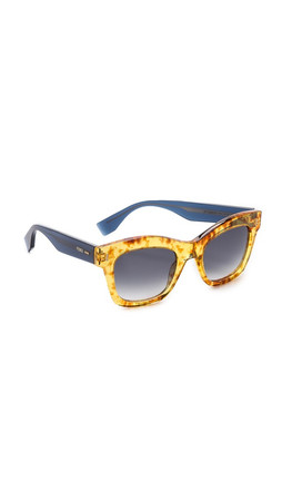 Fendi Thick Frame Sunglasses - Vintage Amber/Grey