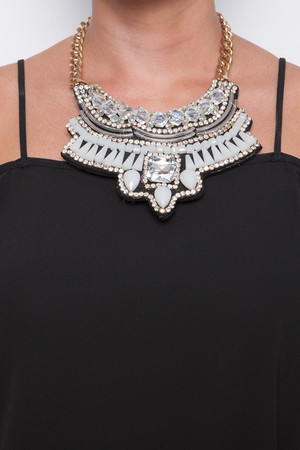 Fi Metallic Multi Embellished Necklace