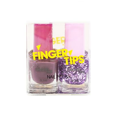 Finger Tips Nail Polish Set 2 x 7ml Purple Glitter