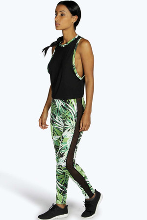 Fit Jungle Print Sport Mesh Panel Legging multi