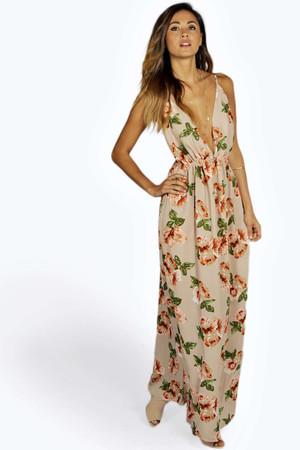 Floral Plunge Chiffon Maxi Dress - nude
