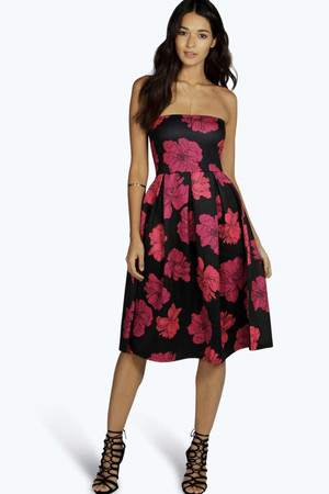 Floral Print Bandeau Midi Skater Dress red