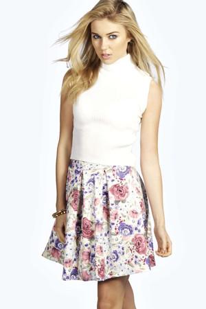 Floral Print Box Pleat Skater Skirt multi