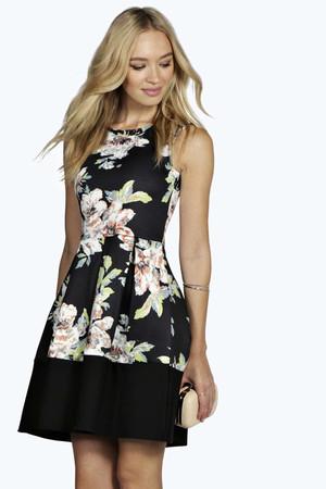 Floral Print Contrast Hem Skater Dress multi