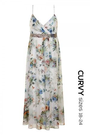 Floral Printed Embellished Maxi Dress