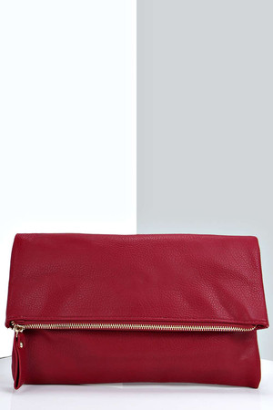 Fold Over Clutch Bag - red