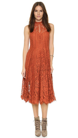 Free People Angel Rays Lace Trapeze Midi Dress - Copper