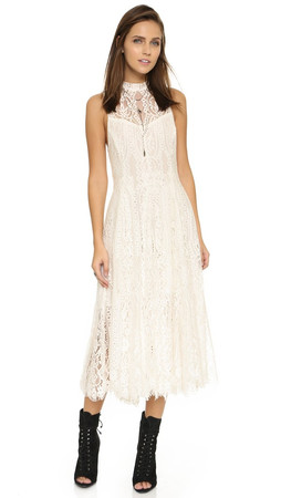 Free People Angel Rays Lace Trapeze Midi Dress - Ivory