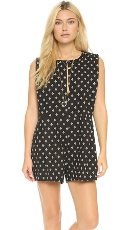 Free People Ashley Linen Boxy Romper - Black Combo