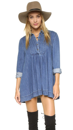 Free People Baby Blues Denim Dress - Robins Blue