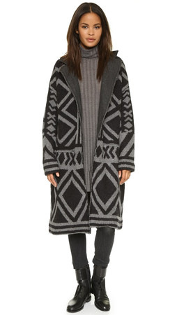 Free People Bold Geo Sweater Coat - Black/Grey Combo