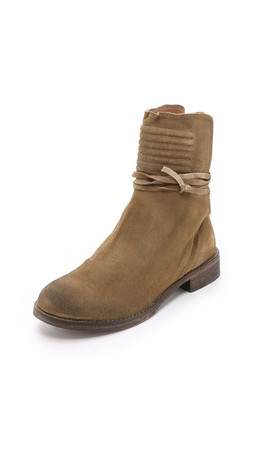 Free People Cambridge Suede Wrap Booties - Tan