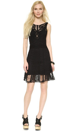 Free People Crochet Mini Dress - Black Combo