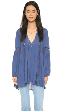 Free People Just The Two Of Us Tunic - Washed Indigo