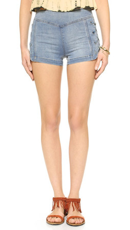 Free People Lace Up High Rise Shorts - Dylan Blue