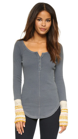 Free People Newbie Thermal Ski Lodge Henley - Steel Grey
