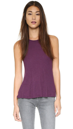 Free People Rib Slub Long Beach Tank - Mulberry