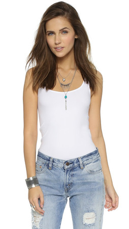 Free People Seamless Scoop Tank - White