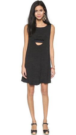 Free People Tropical Solid Mini Dress - Black