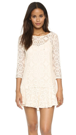 Free People Walking To The Sun Lace Dress - Cream