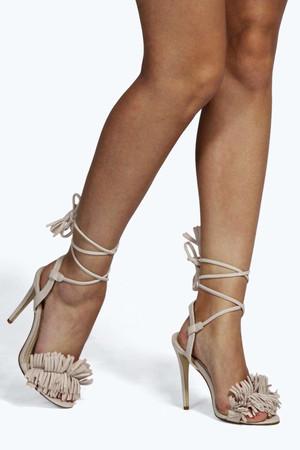 Fringe And Ghillie Tie Heels - nude