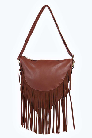 Fringe Saddle Cross Body Bag tan