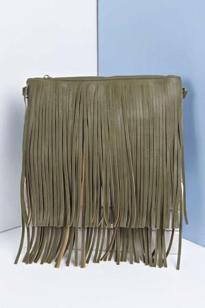 Fringed Chain Clutch Bag - khaki