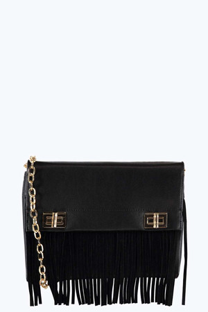 Fringed Clutch And Cross Body Bag black