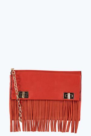 Fringed Clutch And Cross Body Bag orange
