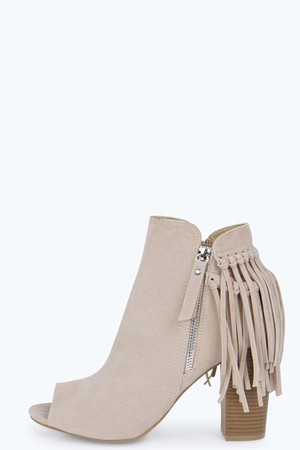 Fringed Peep Toe Shoe Boot - beige