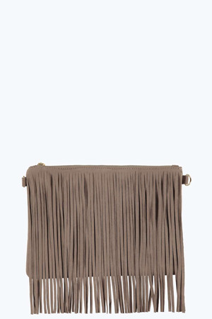 Fringed Suedette Clutch Bag - grey