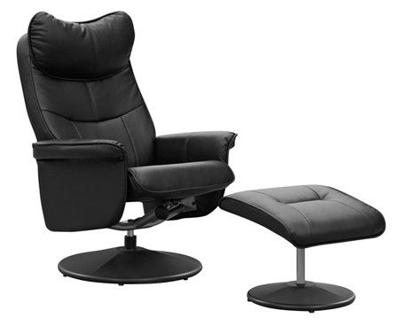 GFA Amsterdam Black Recliner and Footstool