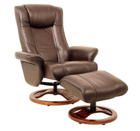 GFA Brown London Recliner and Footstool