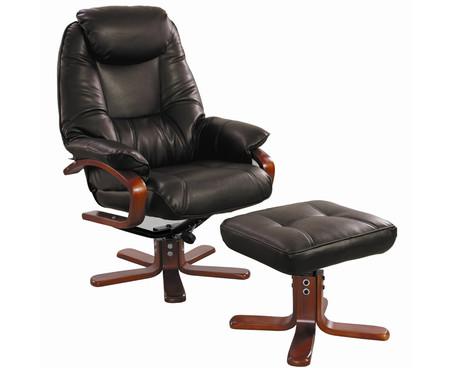 GFA Macau Swivel Chair and Footstool in Chocolate