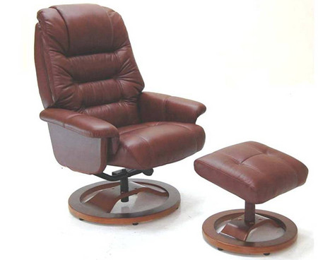 GFA Venus Reclining Chestnut Leather Chair and Footstool